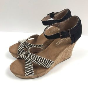 TOMS Strappy Wedge Sandals Canvas & Cork Size 7.5W